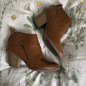 Brown leather Fall booties